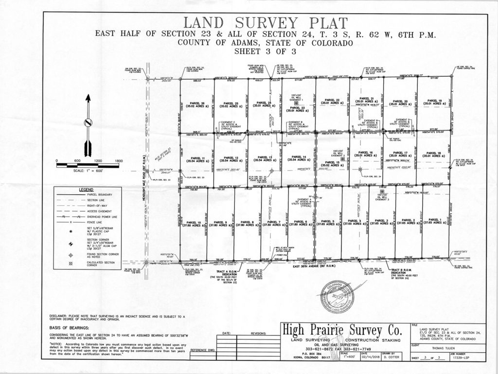 35 Acre lots survey